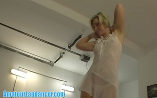 obese blonde lapdancing in white lingerie