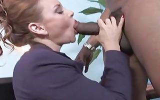 whorish brunette secretary sucks large darksome