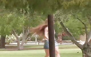 petite redhead girl running!!