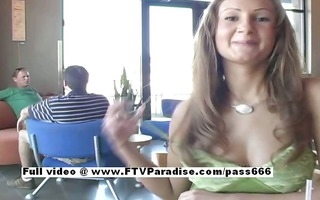 amy stunning breasty redhead angel public flashing
