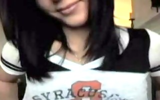college brunette hair teases on webcam