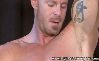 masturbating boy with a piercing in a strange