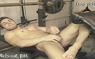 michael fitt cums stripped in the gym