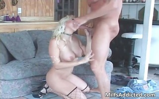 superb golden-haired sexy milf smokes big jocks