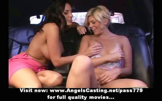 delightsome blond and brunette lesbo angels
