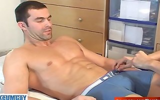 nicolas, str lad receive wanked by a homo guy!