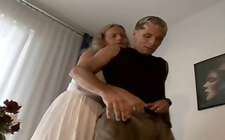 obese blond granny nibbles on his young dong and