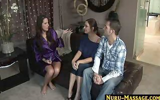 horny pair fuck and engulf during a massage