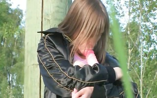 breasty legal age teenager dildoing wet crack in