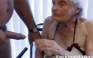 senile wrinkled granny gives blow job and is