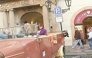 juvenile lad bangs granny tourist