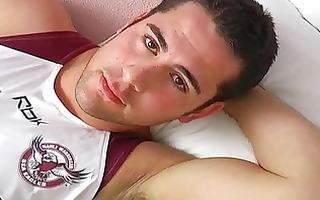 hot athlete starts wanking in bedroom