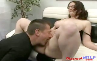 chubby milf give rimjob and receive load