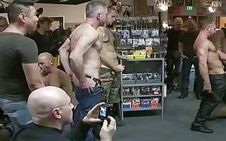 tattooed muscled dude receives handcuffed and