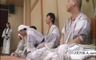 subtitled group of japanese milfs disrobe for
