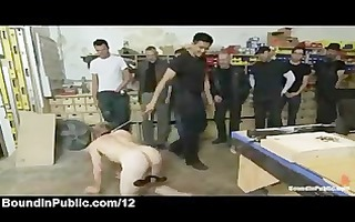 clamped balls homosexual face hole fucked in wood