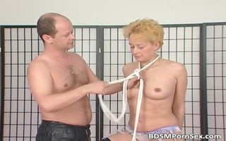 milf golden-haired receives milk shakes tied in