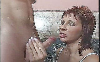 red headed milf receives it is in her ass