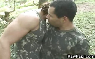 sexy hot military boys having joy in forest