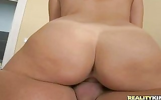 large a-hole dark brown in stockings rides hard