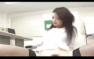 office lady in nylons riding on boy face getting