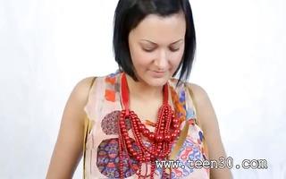 breasty model in beads dildoing vagina