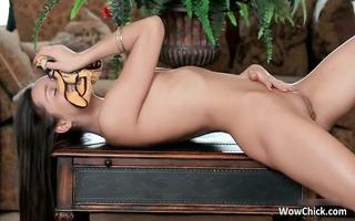 naughty hawt dark brown gal stripping
