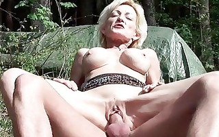 breasty golden-haired granny gets drilled by a
