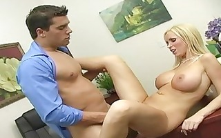 busty golden-haired legal age teenager engulfing