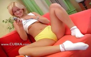 czech blond princess fucking a sex-toy