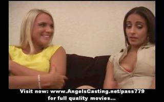 amazingly hot blonde lesbians undressing and