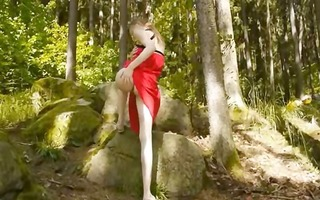 glass sextoy in her girly gap in forest