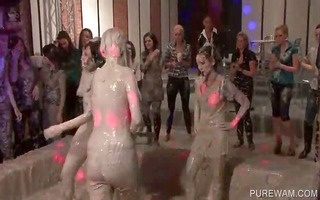topless mud wrestlers show ribald tits