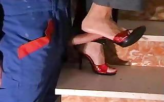 red high heel mules
