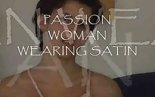 excitement woman wearing satin