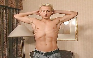 blond muscle fellow shows his penis