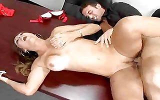 mature latina copulates young stud in the office