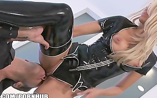 jessica drake undresses out of her latex outfit