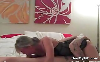 non-professional girlfriend giving oral job and
