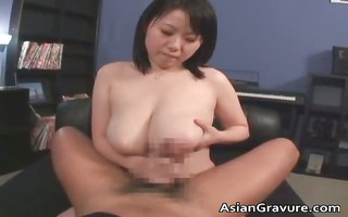 cute asian hottie with biggest juggs receives