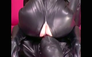 leather clad female-dominant demands a licking