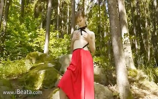 glass sextoy in her girly wet crack in forest