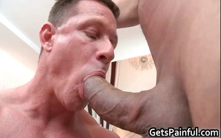 tattooed hunk receives his petite booty drilled