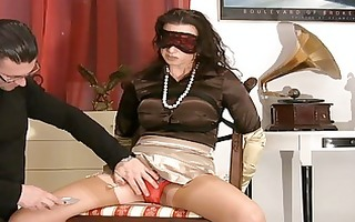 mother i in satiny nylons receives blindfolded