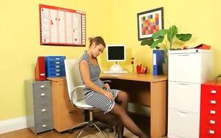 ultra hot secretary tease in office