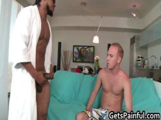 Blond dude sucking and riding black dick