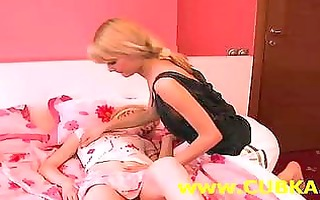 two blondies dildoing on daybed