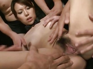 Asian gal is cum covered
