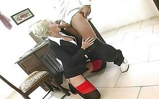 blond secretary in sluty underware gets nailed in