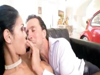 Brunette Angelina Valentine eats cock and then
